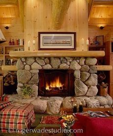 giant fieldstone fireplace | Standout Riverstone Fireplaces . . . Cozy Cabin Hearths!