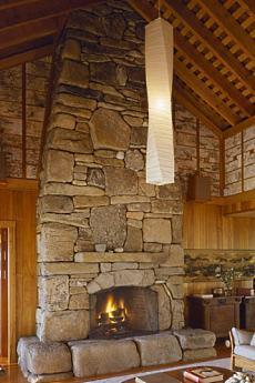 Monumental stone fireplace images big bold beautiful for Large stone fireplace