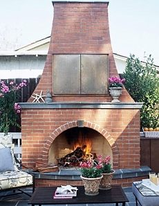 brick outdoor fireplace