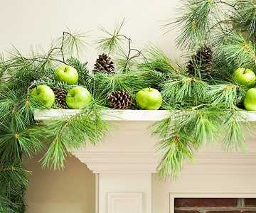 christmas decorating fireplace - Green Christmas Decorations