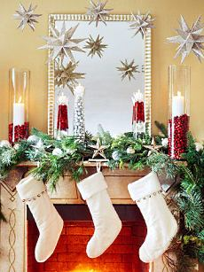 christmas decorating fireplace - Christmas Shelf Decorations