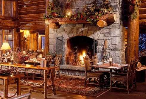 Christmas fireplace pictures spruce up your stone for Cabin fireplace pictures