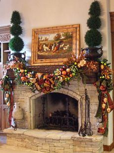 Outdoor Garland Christmas Fireplace
