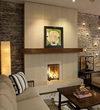Standout stone contemporary fireplace designs - Large contemporary stone fireplace ...
