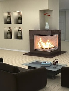A corner fireplace for gas unit is a great way to go if you