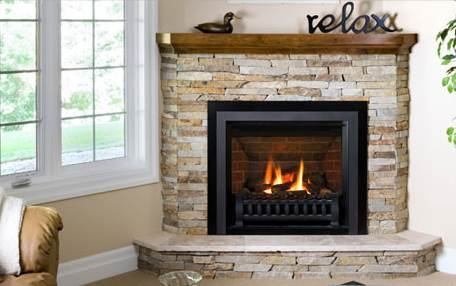A corner gas fireplace affords great flexibility in furniture arrangement and a great view of the fire from virtually anywhere in the room!