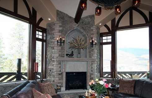 The two multi-story corner stone fireplace designs that follow soar ...