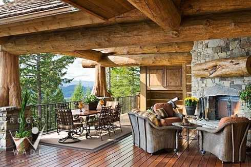 Stone corner fireplace designs vastly versatile for Log home decks