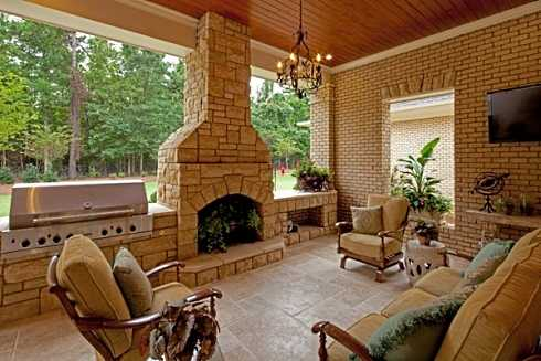 Covered patio designs for outdoor fireplaces undercover for Covered back porch designs