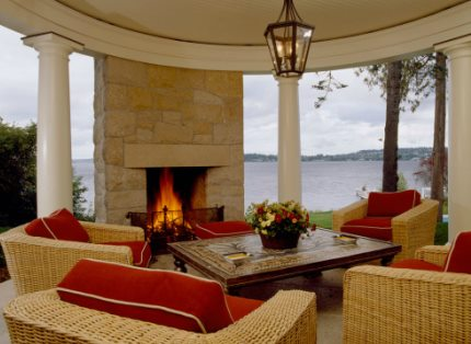 Covered Patio Designs With Fireplace