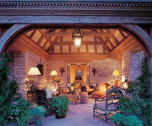 Covered Patio Designs For Outdoor Fireplaces...Undercover ... on Backyard Covered Patio Designs id=42667