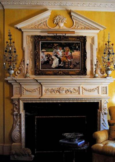antique fireplace reproduction