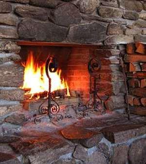 field stone fireplace