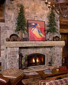 field stone fireplace