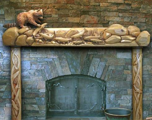 fireplace mantle shelf