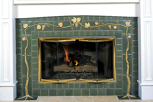 Standout Fireplace Tile Arts Crafts Style