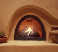 Adobe style fireplace for Kiva fireplaces