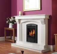 man made stone fireplace