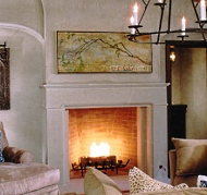 man made stone fireplace
