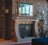 manufactured stone fireplace
