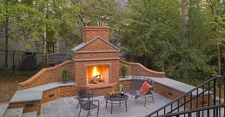 outdoor masonry fireplace