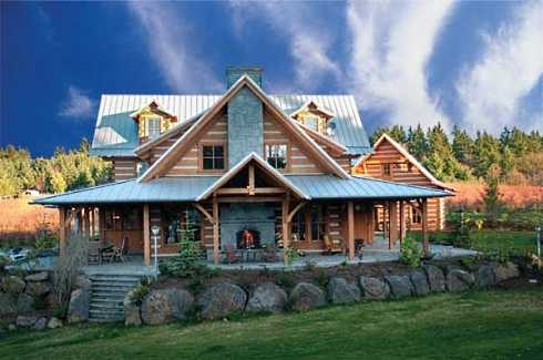 Hot outdoor stone fireplace designs heat up your summer for Log homes with wrap around porch