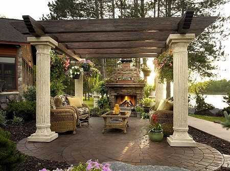 standout patio pergola designs for outdoor fireplaces! - Patio Pergola Ideas