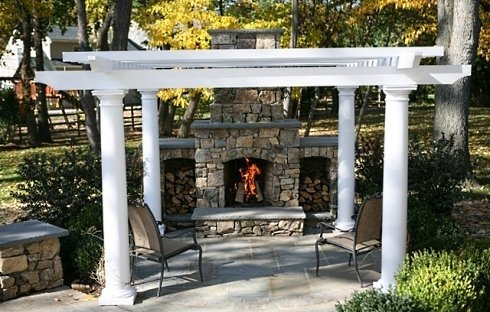 patio pergola - Outdoor Fireplace Patio Designs
