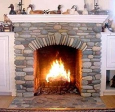 A River Stone Fireplace Rocks