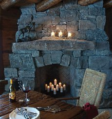THE RUSTIC STONE FIREPLACE . . . AMAZING ADIRONDACK DESIGNS!