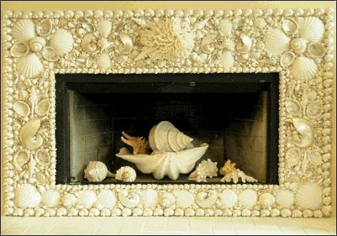 seashell fireplace surround