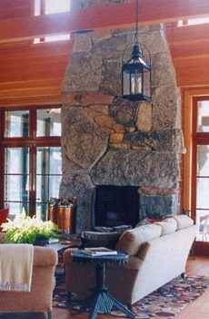 stone fireplace construction