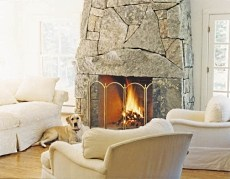stone or rock fireplace