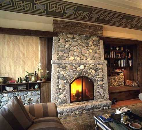 The stone surround fireplace with built ins have it - Stone fireplace surround ideas ...