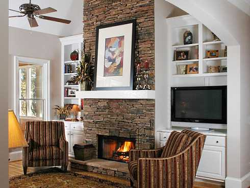 tv alcoves by fireplace