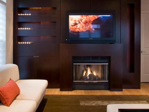 Contemporary Fireplace Designs With Tv Above Images
