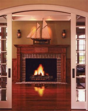 Brick wood fireplace idea home pinterest - Brick fireplace surrounds ideas ...