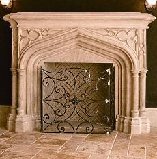 faux stone fireplace