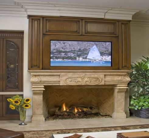 Flat screen tv over fireplace designs to hide or not for Tv over fireplace