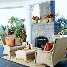The Outdoor Patio Fireplace . . . Homeside To Poolside!