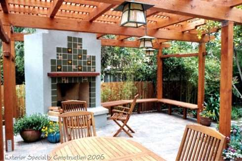 Standout Patio Pergola Designs For Outdoor Fireplaces! on Mexican Patio Ideas id=85058