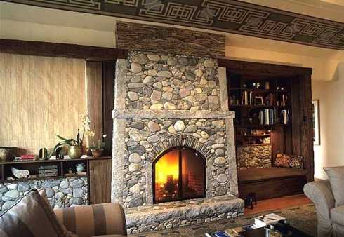 standout river rock fireplace designs all time posh small spaces rustic interior decors added stacked