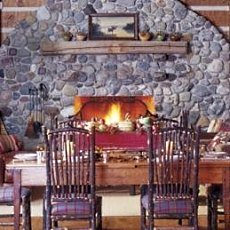 river rock fireplaces