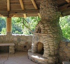 river stone fireplace