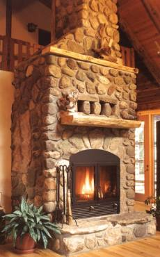 Standout rustic stone fireplace designs monuments in for Rustic rock fireplace designs