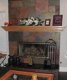 slate stone fireplace
