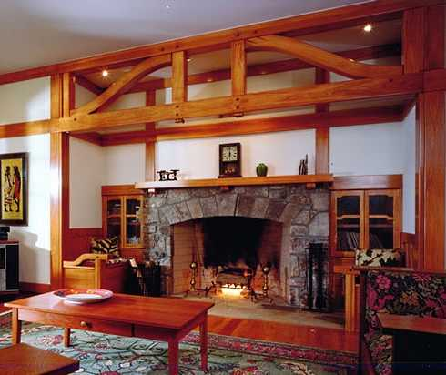 The stone surround fireplace with built ins have it for Craftsman gas fireplace