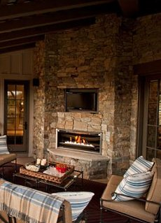 Stone Surround In The Outdoor Room Pictured At Right Includes A Built